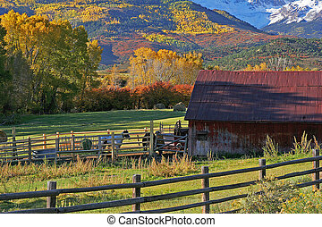 Ranch at the foot of the San Juan Mountains in Colorado