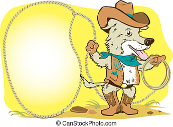 Cowboy dog with lasso and space for message