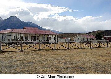 Traditional estancia in the pampas of Patagonia, in Chile