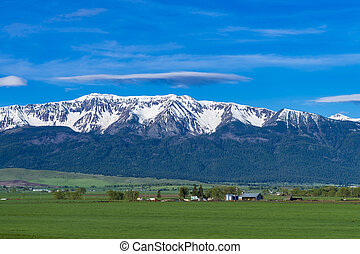 Ranch land near the Wallowa Mountains in Oregon