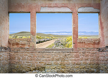 ranch road through mountain valley - mwindow view - ranch ...