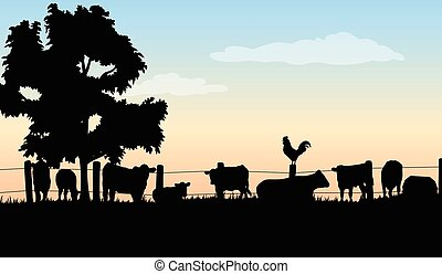 Silhouettes of cattle, barn, tree, rooster, fence, and grass.