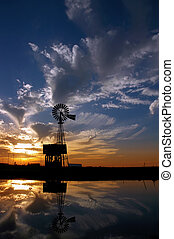 Ranch Windmill at Sunset - Ranch Windmill Reflected in Farm...
