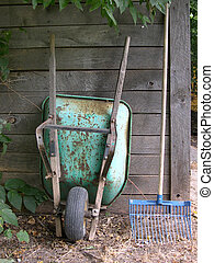 Ranch Work - Rusty Wheelbarrow and Pitch Fork on Ranch
