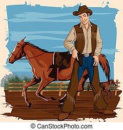 rancho cavalo, retro, homem