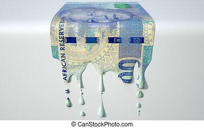 rand, billet banque, fondre, égouttement, africaine, sud