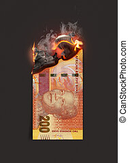 Rand Note Burning - A concept image showing a half burnt ...