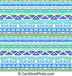 randig, etnisk, mönster, in, vibrerande, blåttar och gräsplan