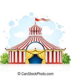 randig, strosa, cirkus, marquee, tält, med, flagga