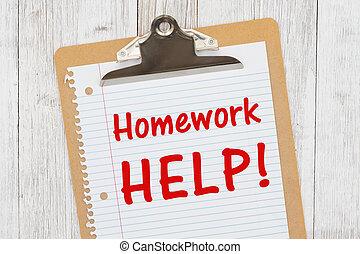 randig tidning, hjälp, hemarbete, skrivplatta, meddelande