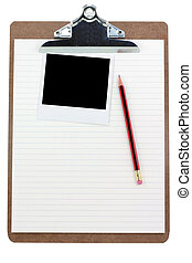 randig tidning, skrivplatta, foto