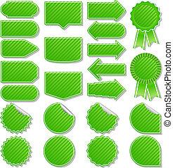 randig, vektor, grön, belopp fäster