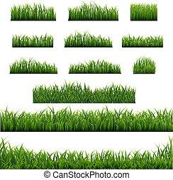 randjes, achtergrond, groot, set, groen gras