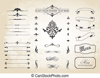 randjes, pagina, ornament, dividers, decoratief, ouderwetse
