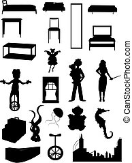 Random batch of silhouettes woman, juggler, fairy, - Unusual...