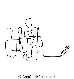 Random chaotic line. - Random chaotic line drawn in pencil. ...