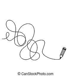 Random chaotic line. - Random chaotic line drawn in pencil....