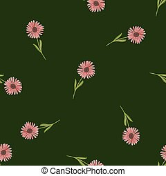 Random chrysanthemum pink flowers ornament seamless pattern in doodle style. Green dark background.