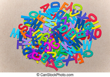 Random color wooden alphabets