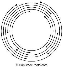 Random concentric circles with dots. Circular, spiral design...