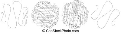 Random curly, tangle, twine lines. Doddle, sketchy, sketch rounded lines ? stock vector illustration, clip-art graphics