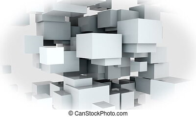 Random design of many white cubes. Computer generated web background, 3d rendering