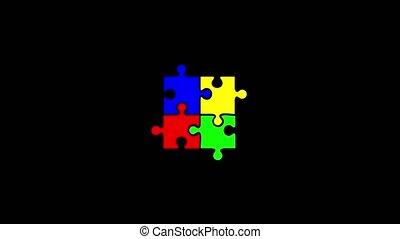 Random falling puzzle transition. Black background -...