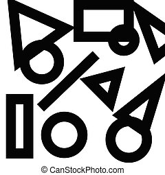 Different Geometric Shapes in Thick Black Outline Scattered on White Surface Design business concept Empty copy text for Web banners promotional material mock up template