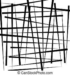 Random intersecting irregular lines - Monochrome abstract illustration