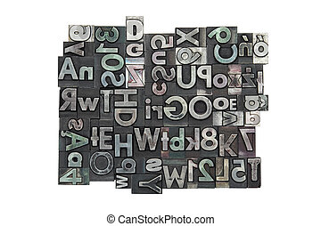 Random letterpress background with clipping path
