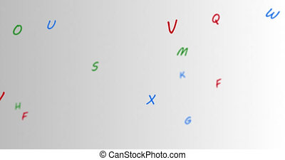Random letters with colors blue, green, red move towards the left in a vast empty space