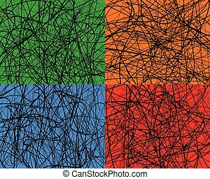 Random lines, abstract wavy lines. Vector background. Set of 4 colors, with different textures.