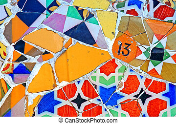 Random Mosaic Pattern - Mosaic wall at Barcelona, Spain