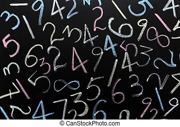 Random numbers background - Random numbers written in chalk...