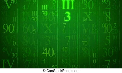 Random numbers figures on a green background