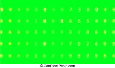 Random numbers on green screen