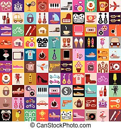 Random Objects Collage - Vector graphic design of various...