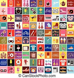 Random Objects Vector Collage - Vector graphic design of...