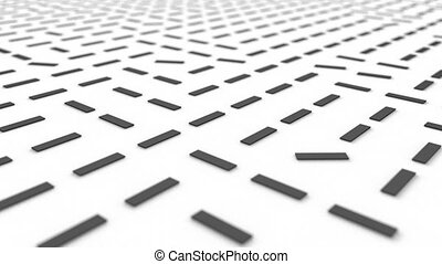 Random rotating rectangular blocks on white surface. Motion background with depth of field effect. Abstract CG animation loop. 3d rendering.