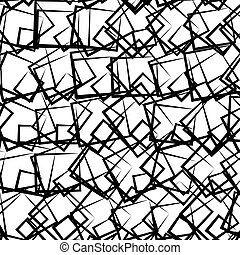 Random, scattered squares abstract uncolored geometric pattern