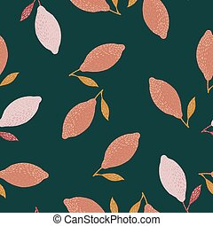 Random seamless doodle pattern with pink lemon ornament. Green dark background.