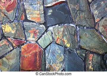 slate - random  stone slate part of a wall