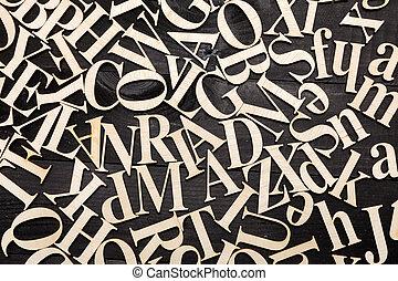 Random Wooden Letterpress Alphabet