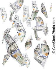 Randomly Falling One Hundred Dollar Bills on White