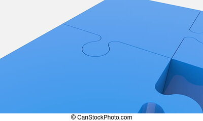 Randomly moving puzzle pieces in blue color on white