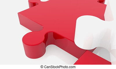 Randomly moving puzzle pieces in white and red colors