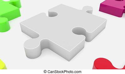 Randomly puzzle pieces on white