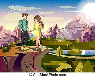 randonnée couple, femme homme, voyageur, sur, montagne