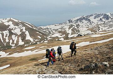 randonnée, dans, montagne