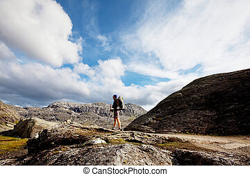 randonnée, dans, norvège